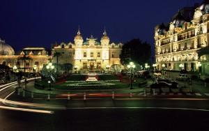 The casino and hotel de Paris by night, Monte Carlo, Monaco