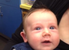 Lachlan's first hearing aid – 7 weeks old