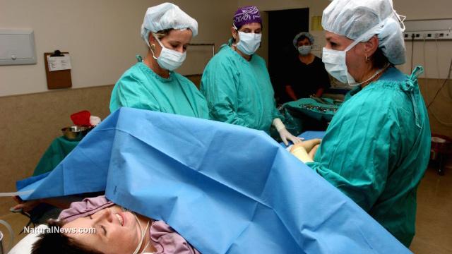 Woman-Giving-Birth-Delivering-Baby-Nurses-Doctors-Hospital